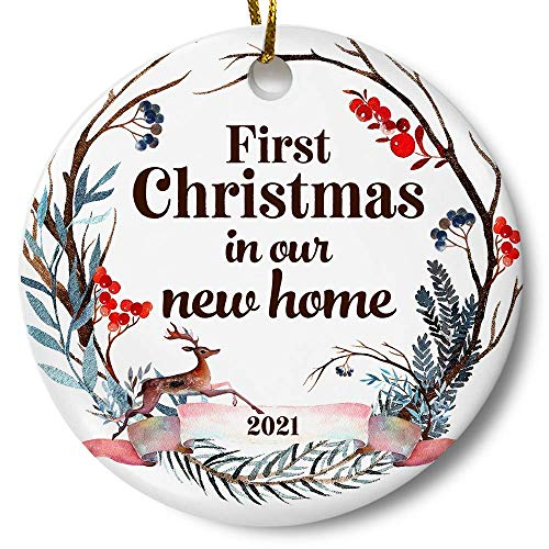 First Christmas in Our New Home 2021 Christmas Ornament, Whimsical Woodland Ornament, Housewarming Gift, Homeowner Present, 3' Flat Ceramic Ornament with Gift Box