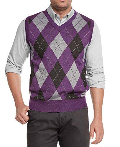 True Rock Men's Argyle V-Neck Sweater Vest-Purple/Blk/Gray-Large