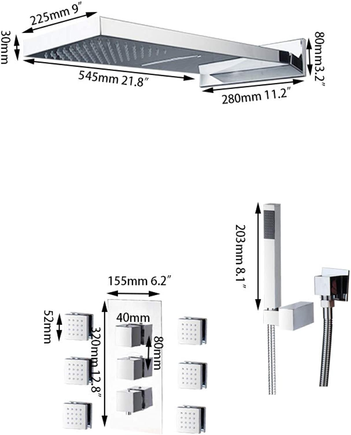 SLTTM Faucet Modern Rainfall Shower Head Luxury Wall Mounted Square Style Brass Waterfall Shower Set New Bathroom Shower with Handle