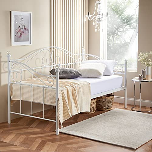 Home Treats Single Metal Sofa Bed Frame 3ft In White Bedroom Furniture Adults Kids