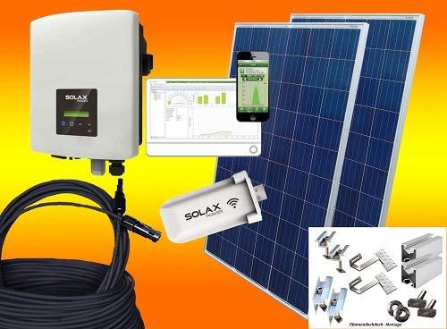 bau-tech - Impianto fotovoltaico a energia solare, 2000 Watt, consumo autonomo, Plug & Play, con materiale di montaggio per tetto