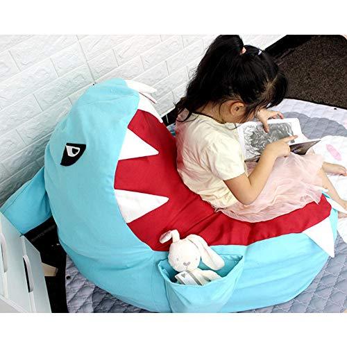 ACHICOO Cartoon Shark Shape Sitzsack für Kinder Spielzeug Kleidung Lagerung Blau groß