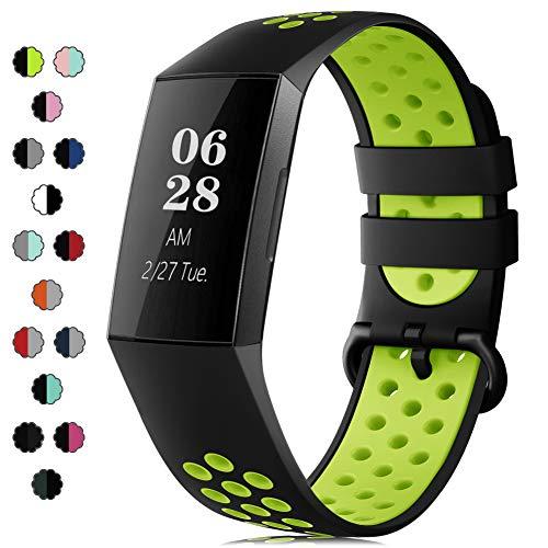 IFREE Correa Compatible para Fitbit Charge 3 Pulsera/Charge 4 Correa para Hombres Mujeres Relojes Banda de Reemplazo Silicona Transpirable Deportivo Pulseras de Repuesto(Sin Reloj)