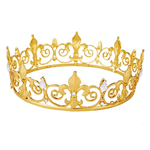 King Crown,Vofler Prince Costume Royal Medieval Fleur De Lis Metal Cake Topper Tiara w/ Clear Crystals for Men Boys Queen Bachelor Birthday Halloween Costume Hats Party Prom Pageant Homecoming, Gold