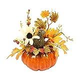 3 pezzi Zucche Artificiali con Fiori, Decorazioni per Halloween, Decorazioni in gommapiuma...