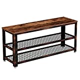 Rolanstar Shoe Bench, Sturdy Long Shoe Rack Bench with Mesh Shelves, Rustic Storage Bench with Stable Metal Frame for Entryway, Mudroom 39.4'