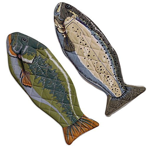 DII Cotton Lake House Fish Oven Mitts 6 X 165quot Set of 2 Machine Washable and Heat Resistant for Kitchen Cooking and Baking