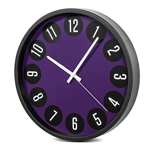 Maclean CE50 Grande Horloge Quartz Design Moderne Silencieux Fonctionnement Bureau Décoration Ronde Noir