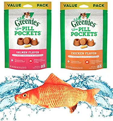 "Kitti Variety Pack Bundle Including a 7.5"" Triple Strength Catnip Toy and Feline Greenies Pill Pockets 1.6oz or 3oz Bags. (2 Flavor Bundle 3oz)"