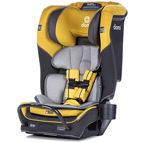 Diono Radian 3QX 4-in-1 Rear & Forward Facing Convertible Car Seat | Safe+ Engineering 3 Stage Infant Protection, 10 Years 1 Car Seat, Ultimate Protection | Slim Design - Fits 3 Across, Yellow Mineral