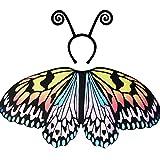 D.Q.Z Kids Butterfly-Wings Costume for Girls with Dress Up Antenna Headband, Children Halloween Pretend Play Kits