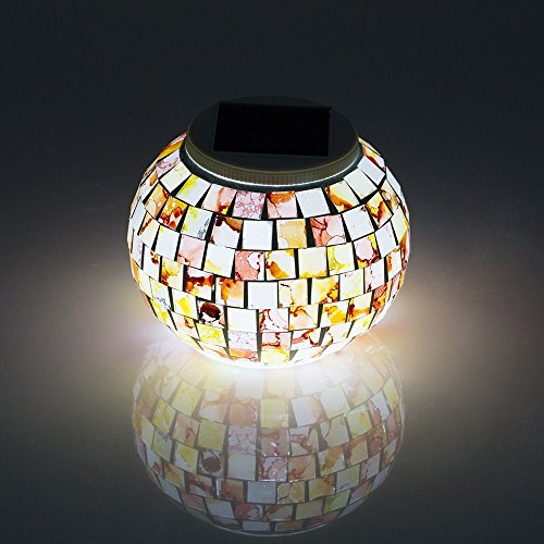 Solar mozaïek verlichting zonnebal Magische Sunshine LED kleur veranderende Lovely Night Lights Party-lampen weerbestendig kristal glazen bol Beste tafellamp voor slaapkamer, feest, tuin, terras, binnenplaats, kleurrijk, binnen/buitendecoratie LED-verlichting, Graniet.