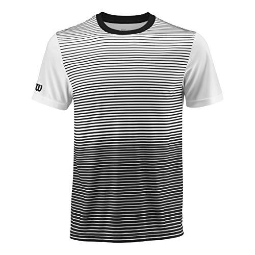 WILSON Herren M Team Striped Crew Tennis-Kurzarmshirt, Schwarz/Weiß, M