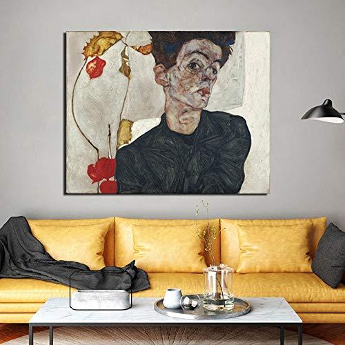 Zxdbh Zelfportret met Chinese lantaarn planten canvas schilderij afdrukken woonkamer Home Decor Moderne muurkunst olieverfschilderij 31X38 cm Met frame.