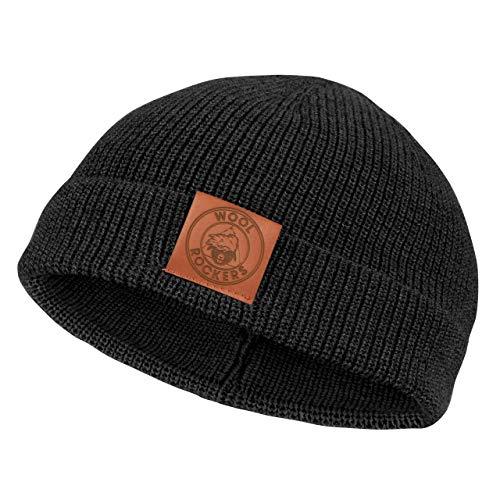 Wool Rockers Merino Mütze, Merino Beanie für Damen und Herren, thermoregulierende Merinowolle, leichte und weiche Strickmütze (schwarz)