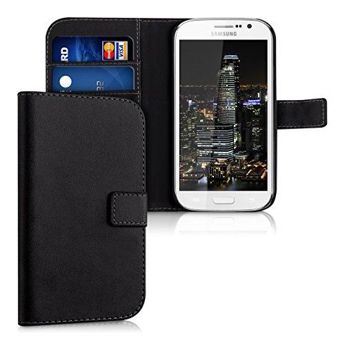 kwmobile Hülle kompatibel mit Samsung Galaxy Grand Neo/Duos - Kunstleder Wallet Case mit Kartenfächern Stand in Schwarz