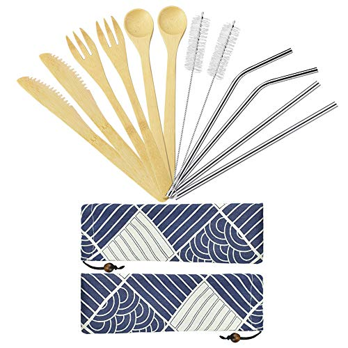 LYTIVAGEN 2 Pack Bambus Besteck Set Holz Reisebesteck Essbesteck Picknick Besteck Set mit Bambus Gabel Löffel Messer Edelstahl Strohhalme und Reinigungsbürste für Partys, Camping, Picknicks
