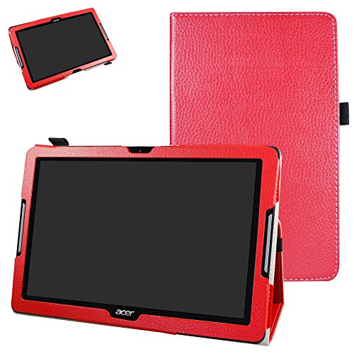 """Mama Mouth Acer Iconia One 10 B3-A30 Coque, Slim Folio PU Cuir Debout Fonction Housse Coque Étui Couverture pour 10.1"""" Acer Iconia One 10 B3-A30 Android Tablette,Rouge"""