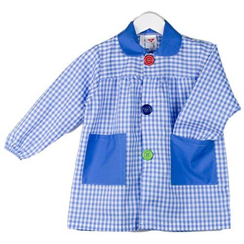 KLOTTZ - Babi cuadros guardería Bata escolar con botones y amplio colorido. Protección ropa en comedores y manulidades en casa. Niñas color: CELESTE talla: 4