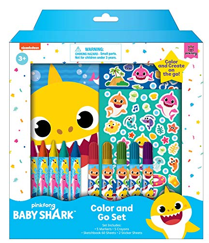 Innovative Designs Baby Shark Coloring Set for Kids with Stickers, Sketchbook, Markers & Crayons