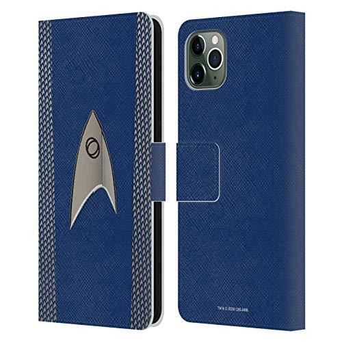 Officiële Star Trek Discovery Wetenschap Uniformen Lederen Book Portemonnee Cover Compatibel voor Apple iPhone 11 Pro Max