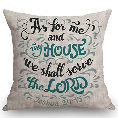 SSOIU Bible Quote Throw Pillow Cover, As for me and My House we Shall Serve The Lord Joshua 24:15 Cotton Linen Decorative Home Office Throw Pillow Case Couch Cushion Cover 18X18 inches