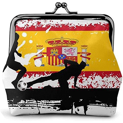 Spanien Fußball Fußball Leder Münzgeldbörse Küsse Schloss Wechselbeutel Vintage Verschluss Verschluss Schnalle Brieftasche