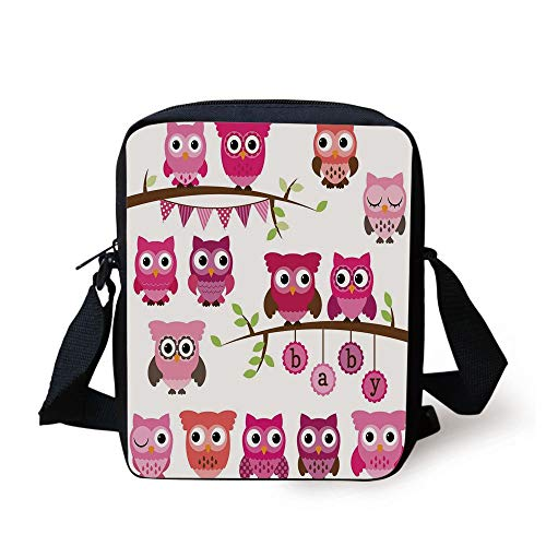 Nursery,Girl Baby Shower Themed Owls and Branches Adorable Cartoon Animal Characters,Purple Pink Brown Print Kids Crossbody Messenger Bag Purse
