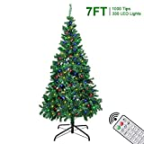 7FT Christmas Trees - 1000 Tips Artificial Xmas Tree with 330 LEDs String Light - 12 Lighting Modes...