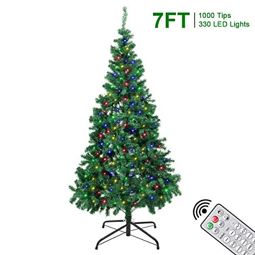7FT Christmas Trees - 1000 Tips Artificial Xmas Tree with 330 LEDs String Light - 12 Lighting Modes DIY Light with Remote and Timer -Indoor & Outdoor Holiday Xmas Decoration