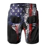 ANYA TOPSHOP Youth American Flag Punisher Skull Grunge Distress USA Pattern Beach Shorts Cool Surf Beachwear 3D Printed Drawstring Beach Board Shorts with Pockets Mesh Lining