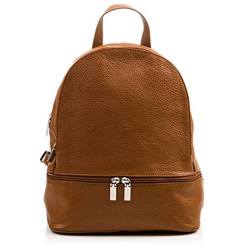 FIRENZE ARTEGIANI. Mochila Bolso Casual Mujer Piel auténtica.Mochila Cuero Genuino Dollaro.Tacto Suave. Mochila Bolso Mujer. Made in Italy. Vera Pelle Italiana. 26x30x14 cm. Color: Leather