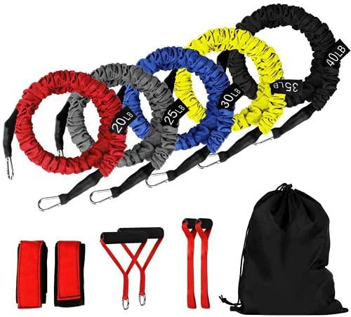 Fasce di Resistenza Kit, 5 Diversi Livelli di Resistenza Corda Elastici da Pilates Gym Yoga Fisioterapia Bande Elastiche Fitness Banda Elastica