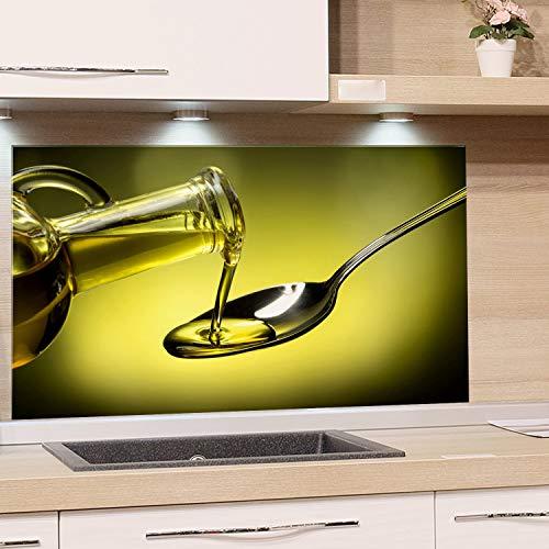 GRAZDesign Spatbescherming glas voor keuken fornuis, afbeelding motief groen olijfolie mediterrane keuken achterwand glas keuken spiegel glazen achterwand 100x60cm