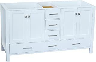 ARIEL Cambridge A049S-BC-MNB 48 Inch Single Solid Wood Midnight Blue Bathroom Vanity Base Cabinet with 2 Soft-Closing Doors and 9 Self-Closing Drawers