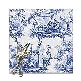 Set di 6 tovagliette per tavolo da pranzo con motivo cineiserie blu, lavabili per Natale, Capodanno, cucina, vacanze, 30,5 x 30,5 cm