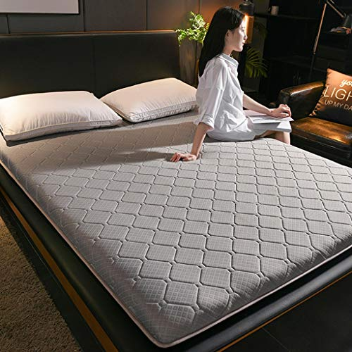 RYUXUI Double Mattress Tatami Mattress Linen Knitted Fabric Mattress Breathable Skin-friendly Mat Sleeping Pad, Support And Better Overnight Recovery (Color : A, Size : UK King (150 x 200cm))