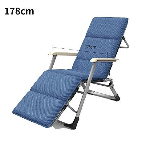 YNN Chaise Pliante Unique Chaise Pliante déjeuner Pause Chaise de Bureau Chaise de Plage Chaise de Bureau Chaise Siesta Fauteuil inclinables (Couleur : Bleu, Taille : 178cm)
