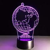 BFMBCHDJ Ein Globus 3D Lampe 7 Farbwechsel Kleine Nachtlicht Led Kreative Schreibtischlampe Innen Atmosphäre Lampe USB Oder 3AA Batterie Netzteil