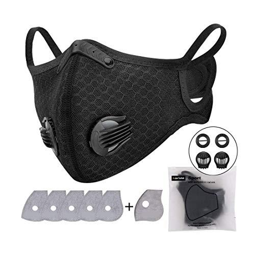 Staubmaske Atemschutzmaske Mundmaske mit Atemventil und 6 Aktivkohle Filtern, waschbare und Wiederverwendbare Atemschutzmaske für Laufen, Radfahren, Outdoor-Aktivitäten