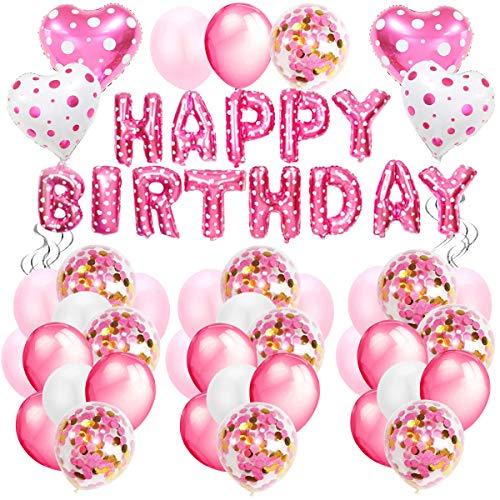AivaToba Geburtstagsdeko Mädchen Happy Birthday Girlande Ballons Geburtstag Dekoration Set mit Luftballons Rosa für Deko Geburtstag Taufe Mädchen 1