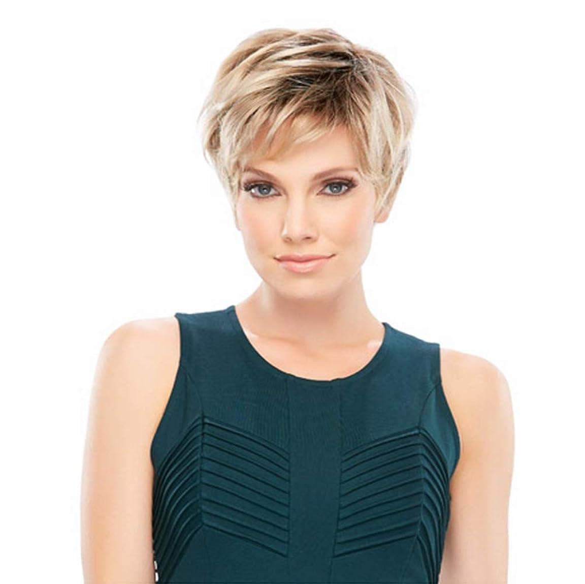 なんでも伝導メディア女性のショートヘッド耐熱ファッション魅力的なストレートカールカーリー波ウェーブ合成かつら26 cm