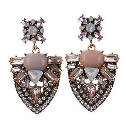 Pendientes de pedrería con cristales y brillantes para mujer