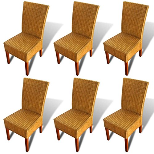 Lechnical Juego de sillas de Comedor de Mango Macizo de 6 Piezas, Juego de sillas de Comedor de Mimbre Natural de 6 Piezas 47 x 50 x 97 cm