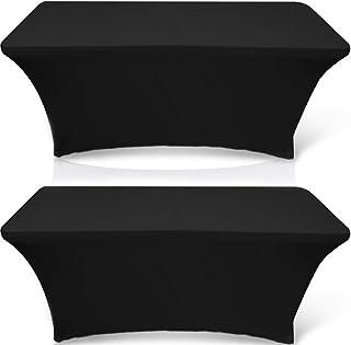 رومیزی کشش مستطیل سفید کلاسیک 6ft - رومیزی مستطیلی مستطیلی اسپندکس محکم برای 6 جدول تاشو (سیاه ، 2 بسته)