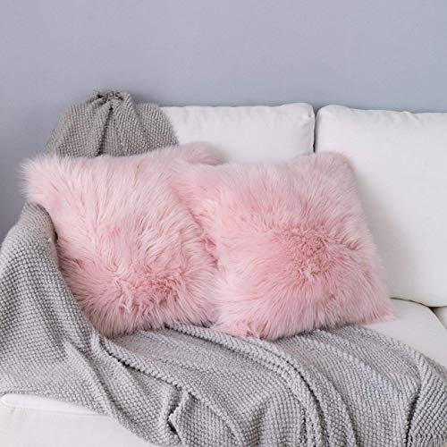 QINGLOU 2 Pack Faux Fur Throw Pillow Cover Fluffy Soft Decorative Square Pillow covers Plush Case Faux Fur Cushion Covers For Livingroom Sofa Bedroom (Light Pink, 45x45cm)