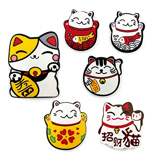 Imanes para nevera, 6 unidades, imanes para nevera, diseño de gatito, animales, pizarra, para nevera, mensaje para niños, decoración del hogar