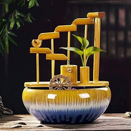 KEKEYANG Keramikbrunnen Ornamente Feng Shui Bambusrohr kreative Spüle Aquarium zu Hause Wohnzimmer Office-Desktop-Dekoration Innenbrunnen (Color : C)