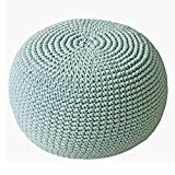 HUANLIAN Puf de punto a mano, 100% algodón, redondo, trenzado, puf grande, otomano, para sala de estar, dormitorio, jardín, A