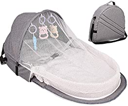 Baby Travel Bed, Portable Foldable Baby Crib Mosquito Net Tent Bassinet Infant Sleeping Basket with Toys for 0-24 Months Newborn Baby
